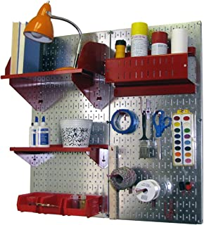 product image for Wall Control Pegboard Hobby Craft Pegboard Organizer Storage Kit with Metallic Pegboard and Red Accessories