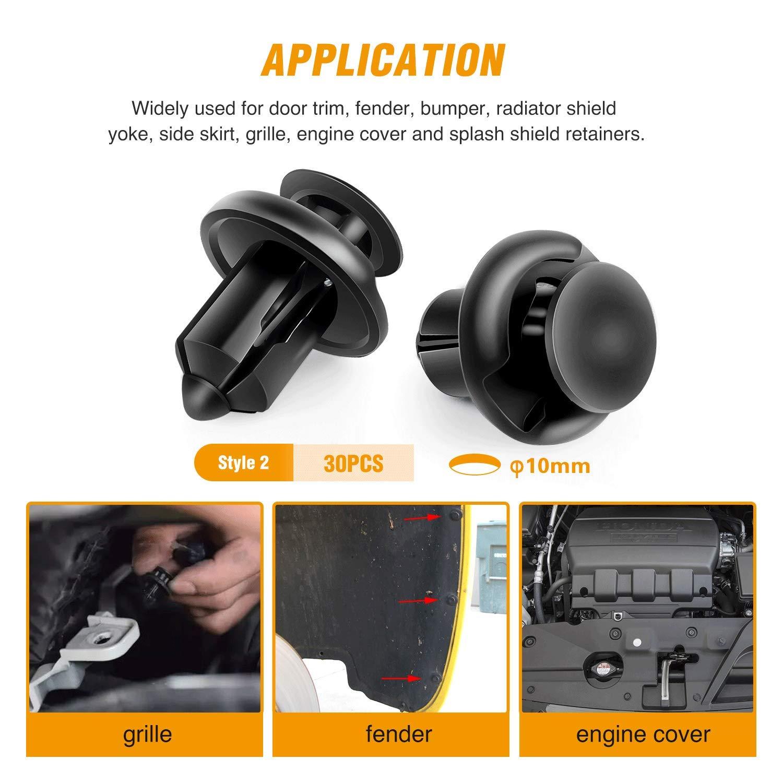 GOOACC GRC-18 100PCS 7mm 8mm 10mm Nylon Push Expansion Screws Replacement Kit,Bumper Fastener Rivet Clips GM 21030249 Ford N807389S