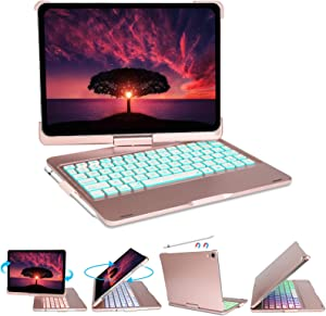 """Keyboard Case for iPad Pro 11 inch 2021 3rd Generation – 360° Rotatable Wireless Keyboard Case with 7 Color Backlit, Compatible with iPad 10.9""""Air 4th Gen/iPad 11""""1st/2nd/3rd Gen, Pink"""