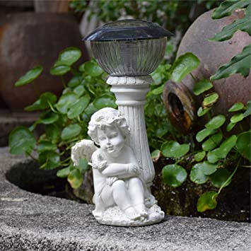 Figura Decorativa para jardín Creative Angel Solar Powered Luces Al Aire Libre Resina A Prueba De Agua Jardín Estatua Para Patio Decoración De Césped Regalo (A B) B:18 * 20 * 34cm: