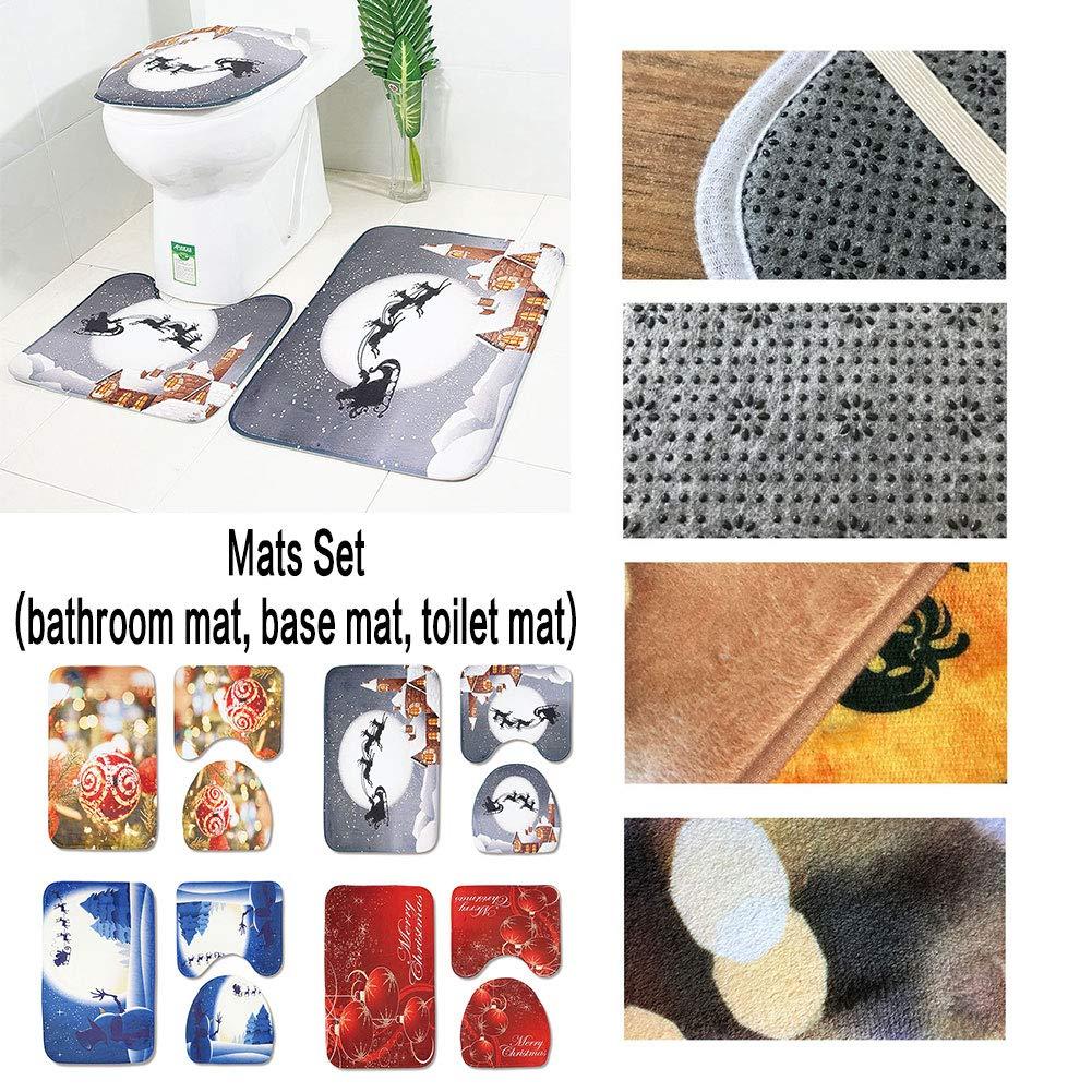 C Blau Weihnachten Schneemann Rutschfeste Saugf/ähige Badezimmer Matte Set Bodenmatte Teppich Toilette Bodenmatte Toilettensitz dreiteilige Badezimmer Matte WUYANSE 3pcs Weihnachten Toilet Mat