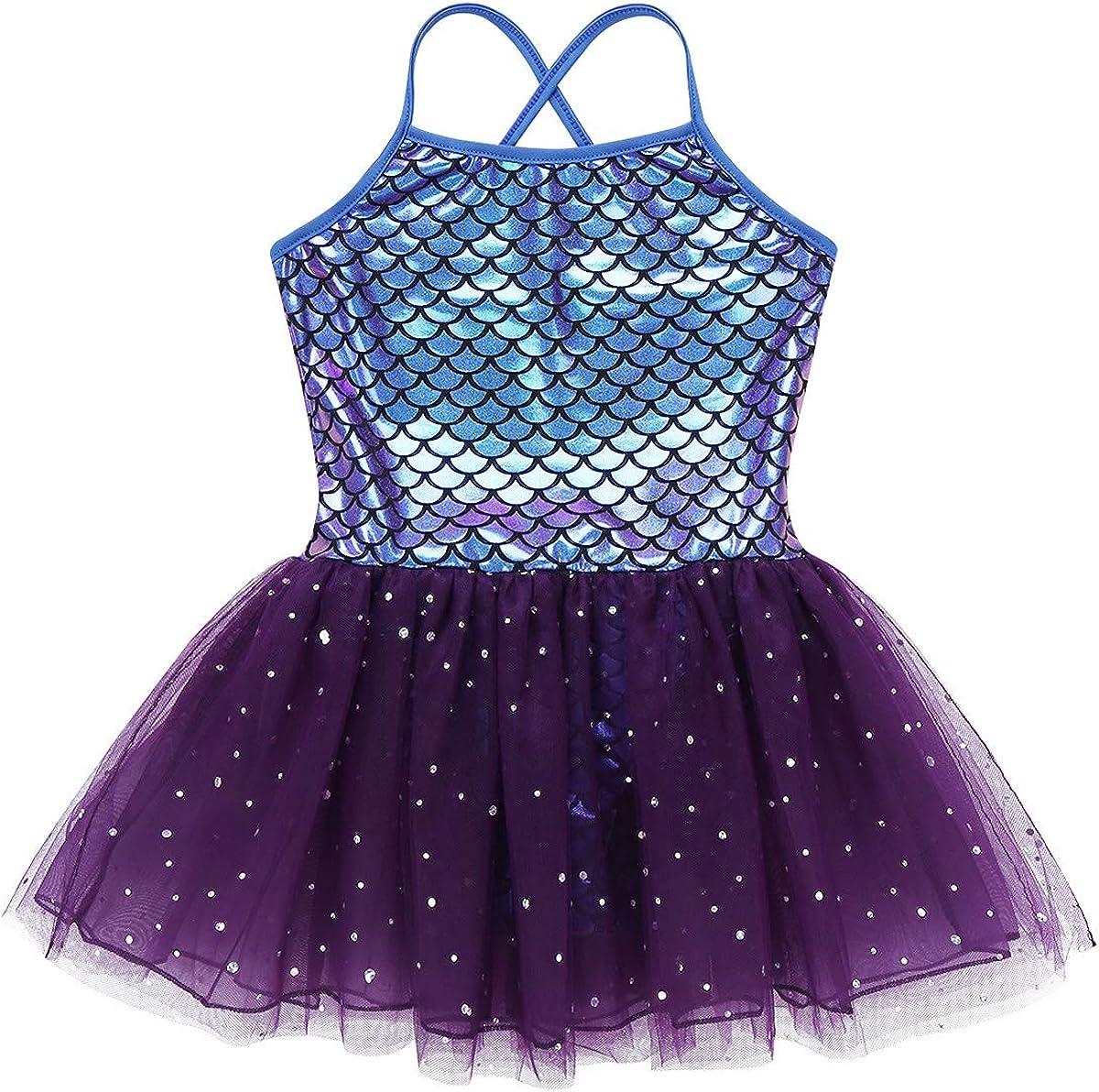 inhzoy Kids Girls Mermaid Camisole Leotard Ballet Dance Tutu Dress Sparkly Skirted Gymnastics Outfits