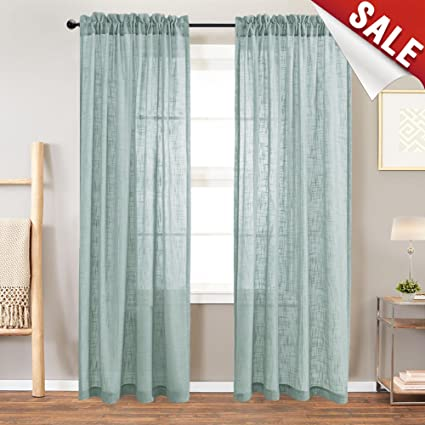 Linen Textured Sheer Curtains Rod Pocket Drapes For Bedroom Curtain Panels  For Living Room Window/