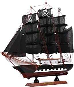 GARNECK Wooden Pirate Ship Model 3D Black Ship Sculpture Nautical Decoration for Kids Adults Office Home Pirate Party Table Decoration