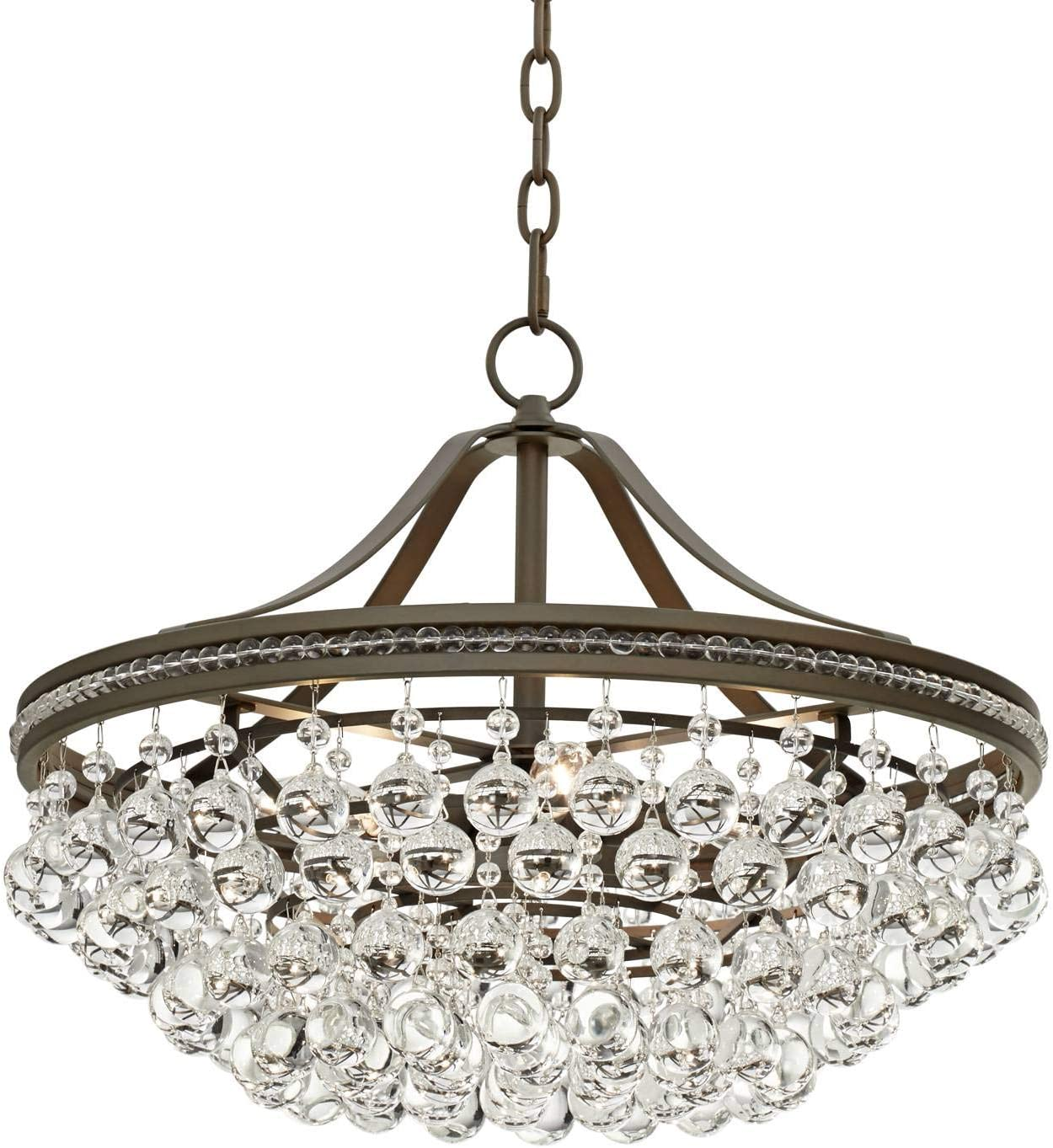 Wohlfurst Bronze Pendant Chandelier 20 1 4 Wide Clear Crystal 5-Light Fixture for Dining Room House Foyer Kitchen Island Entryway Bedroom Living Room – Vienna Full Spectrum