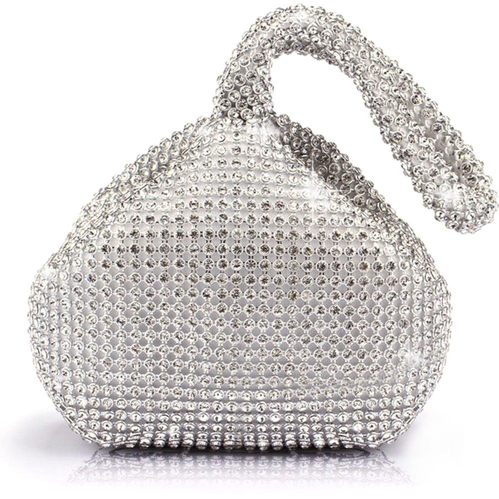 Jian Ya Na Fashion Women Rhinestone Trihedral Clutch Evening Bag Bling Zipper Wedding Purse (Silver)