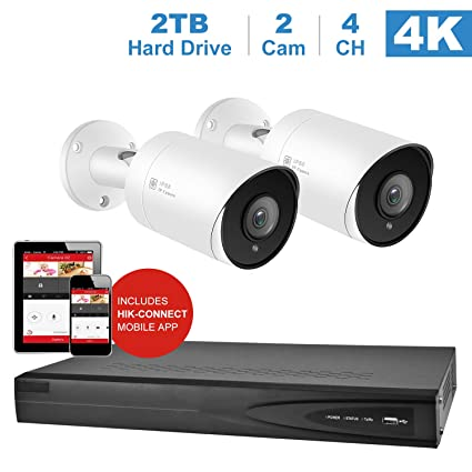 【Audio】Anpviz 5MP IP PoE Home Security Camera Systems, 4 Channel 4K HD  H 265+ Onvif NVR ( Compatible with Hikvision DS-7604NI-K1/4P) with 2TB HDD,
