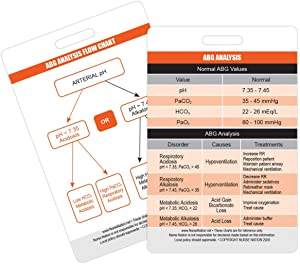Arterial Blood Gas (ABG) Vertical Badge Card - Excellent Resource for Nurses, Nursing Clinicals, and RN Students - Great Nursing School Supplies and Accessories