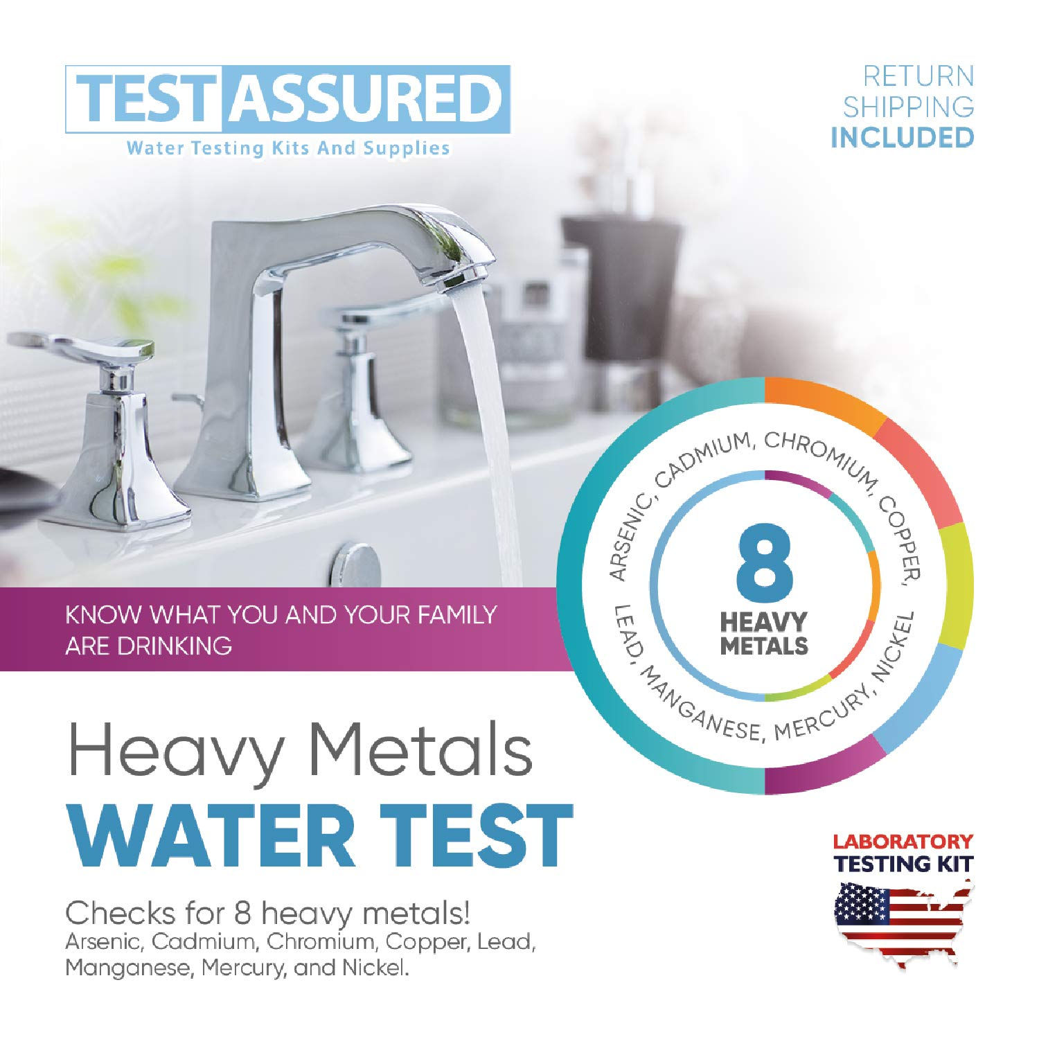 Test Assured Heavy Metals Water Test Kit - Easy at-Home Municipal and Well Water Test Kit - Mailed-in Laboratory Heavy Metal Testing Kit by Test Assured
