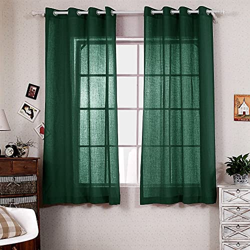 R.LANG Solid Grommet Top Faux Linen Window Panels for Livingroom 1 Pair Dark Green 52 W X 108 L Set of 2 Panels