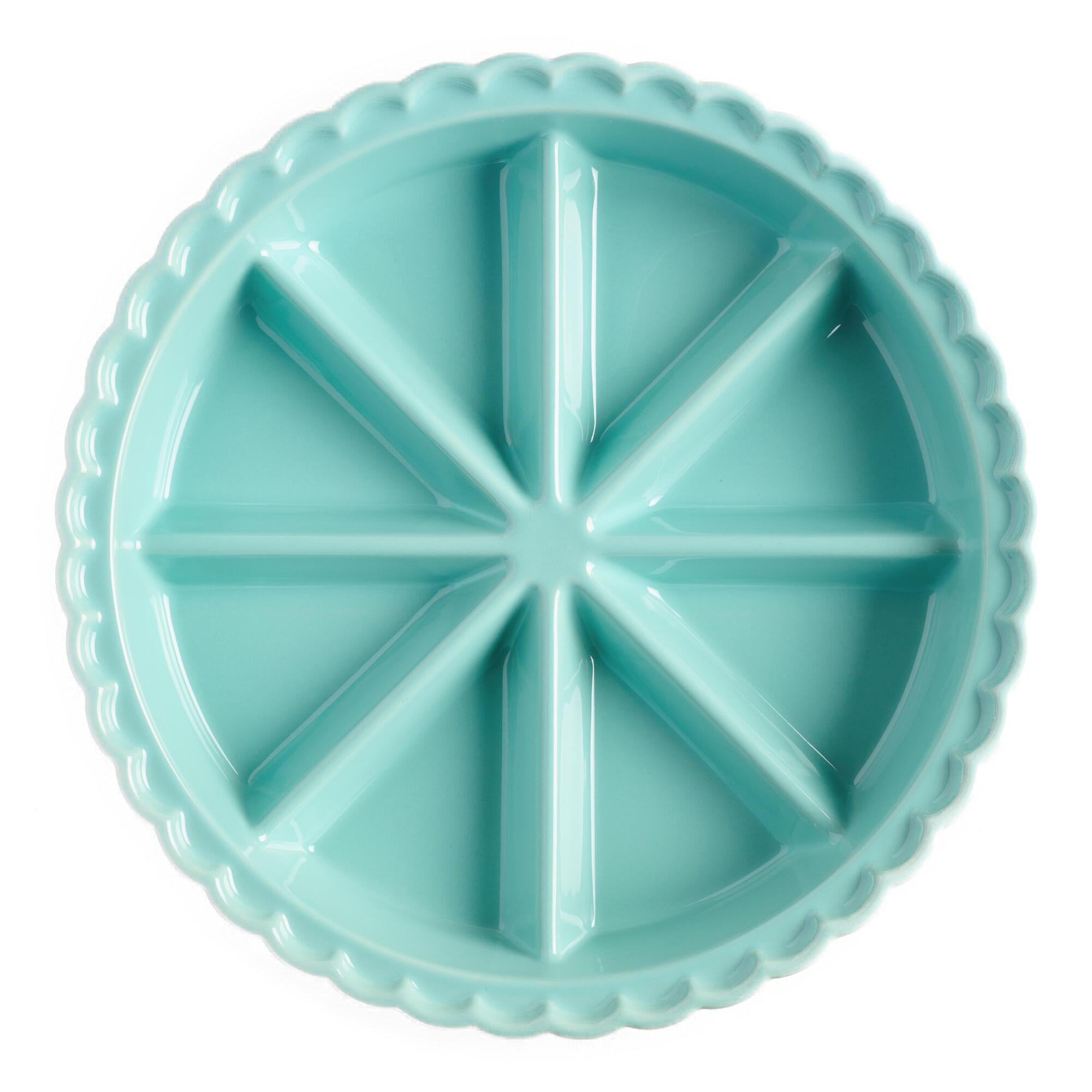 World Market 8 Triangle Aqua Ceramic Scone Pan