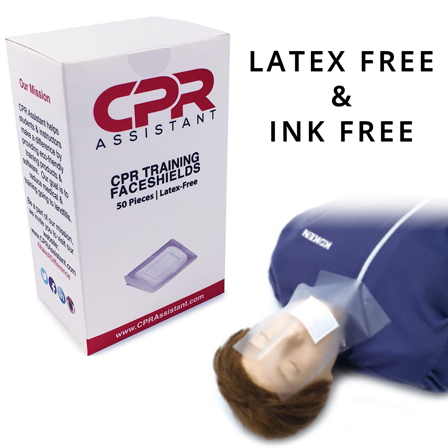2 Pack Bundle for 100pc Total Latex Free CPR Training Faceshield for CPR First Aid Practice Manikin CPR Assistant