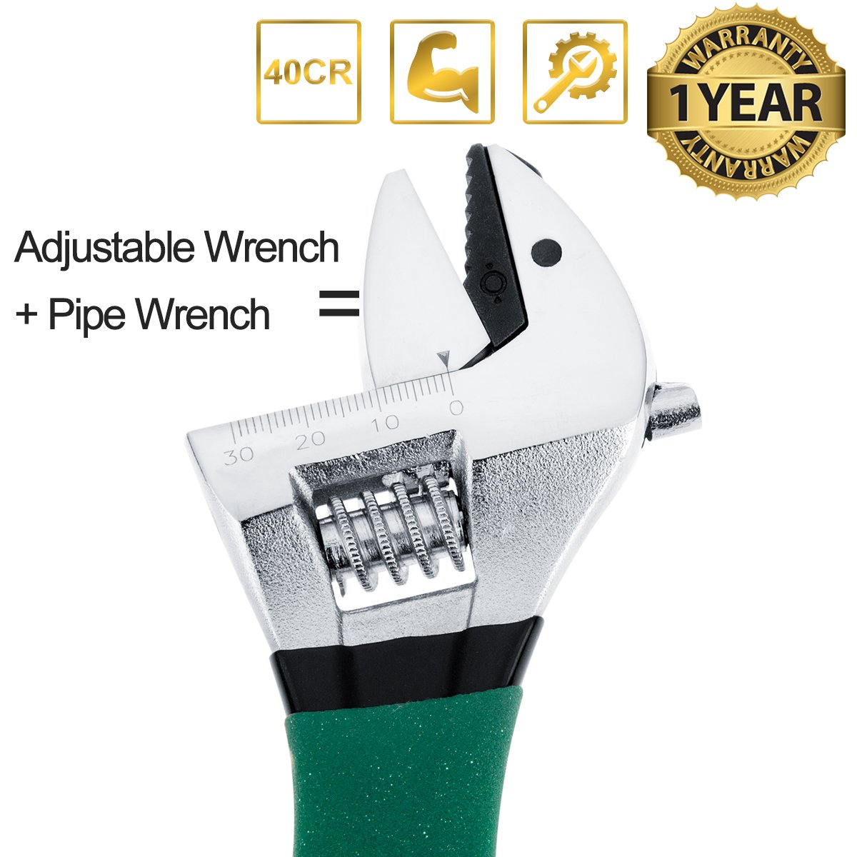 Adjustable Wrench, Pipe Wrench Multi-function Adjustable Sawtooth Wrench Ratchet Function with Anti-Slip Dark Green Grips Tools for Men Husband Dad Father Handyman Women-10 inch (10inch)