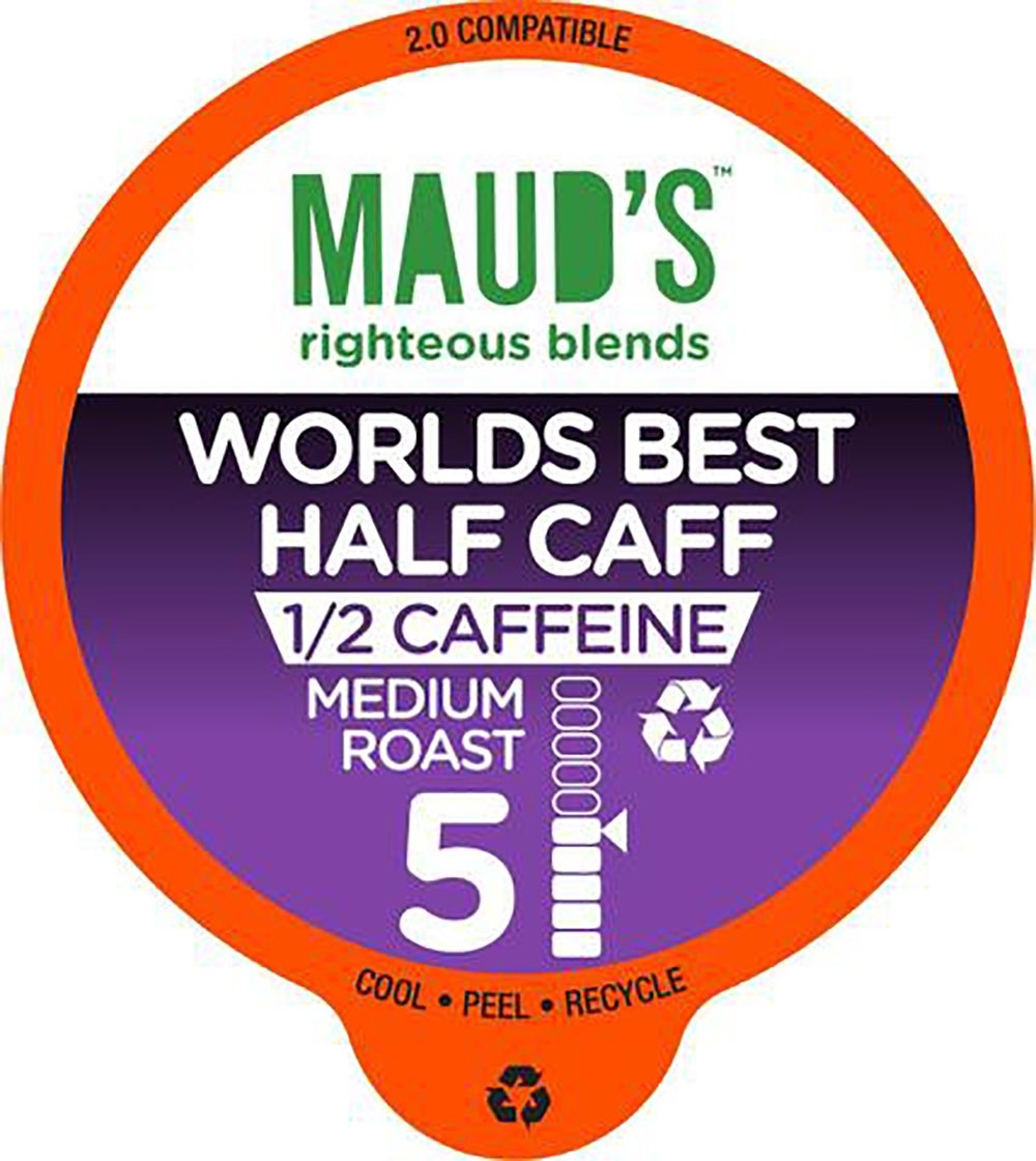 Maud's Gourmet Coffee Pods - World's Best Half Caff, 100-Count Single Serve Coffee Pods