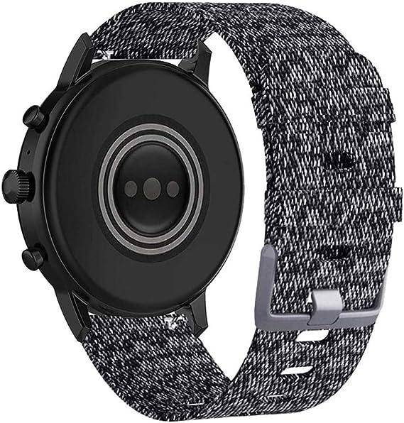 Abanen Watch Band for Fossil Gen 5 Carlyle/Julianna, 22mm Woven Nylon Breathable Sport Soft Men Wristband Strap for Samsumg Galaxy 46mm/Gear S3,Fossil Gen 4 Explorist HR/Gen 5 Garrett (Black-Grey)