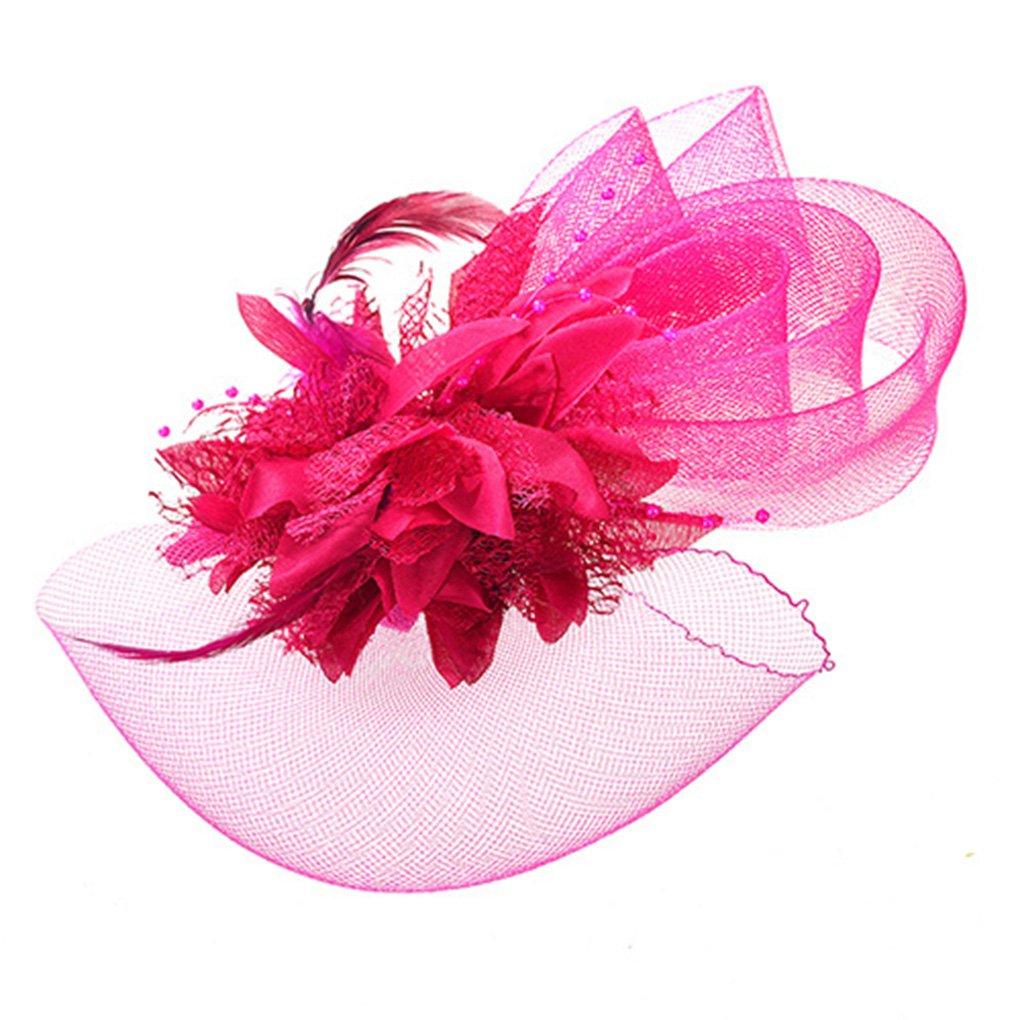 Women Fascinators Hats,Elegant Feather Pillbox Hat Veil Church Hair Accessories