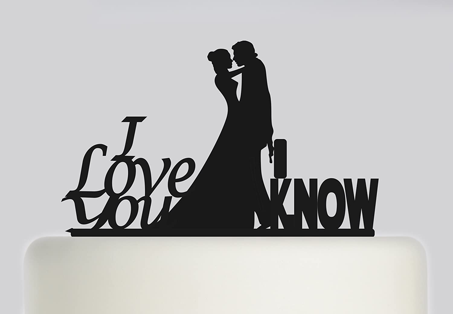 Wedding Cake topper Bride and Groom Mr and Mrs, Star Wars Themed, Han Solo and Leia, I Love You, I Know. Ideal handmade wedding cake decoration, wedding party Acrylic cake topper MR & Mrs Cake topper, Available in Gold Mirror, Gold Sparkle, Silver Mirror,