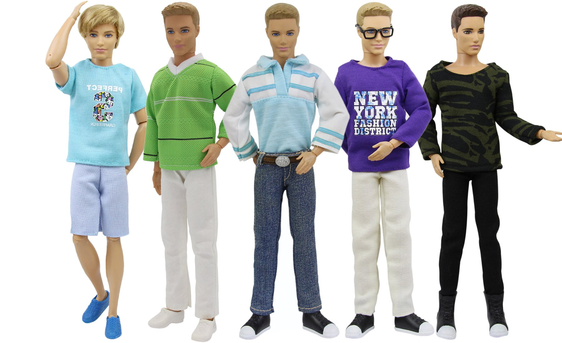 K.T. Fancy Lot of 5 PCS Fashion Casual Wear Clothes/Outfit for Barbie's Boy Friend Ken Doll