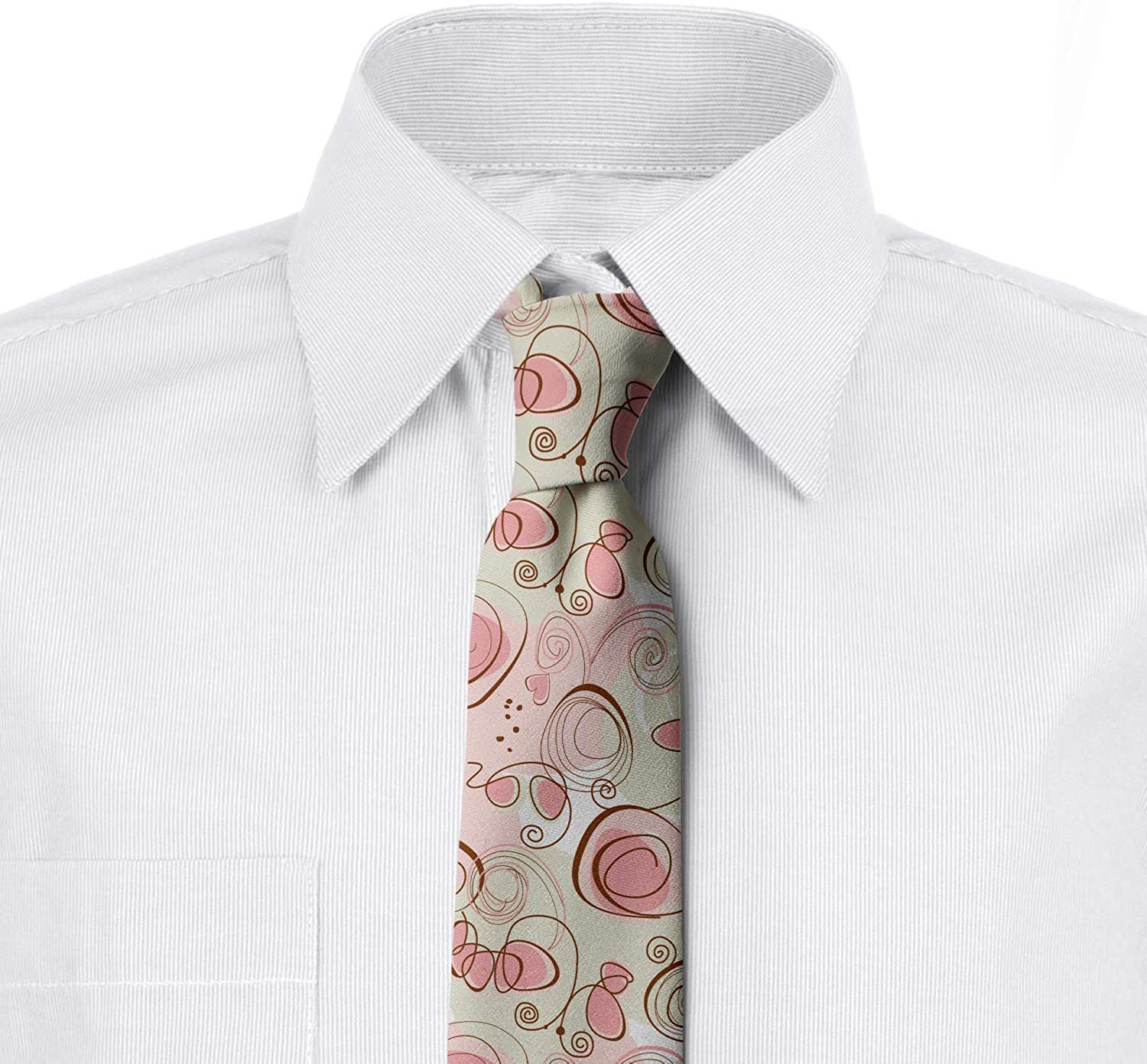Romantic Pastel Spring Pale Green Blush Brown Ambesonne Mens Tie 3.7