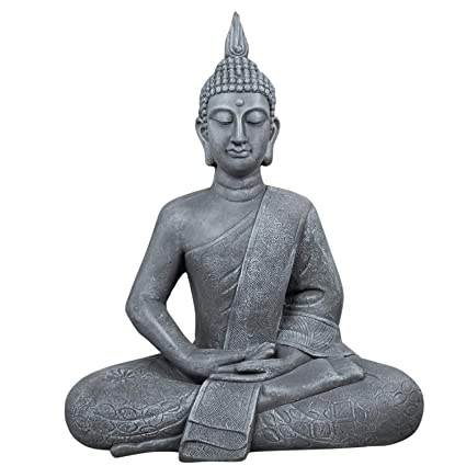 dszapaci Buddha Statue Groß 65cm Sitzend Deko Figur Für Wohnzimmer Skulptur  XL