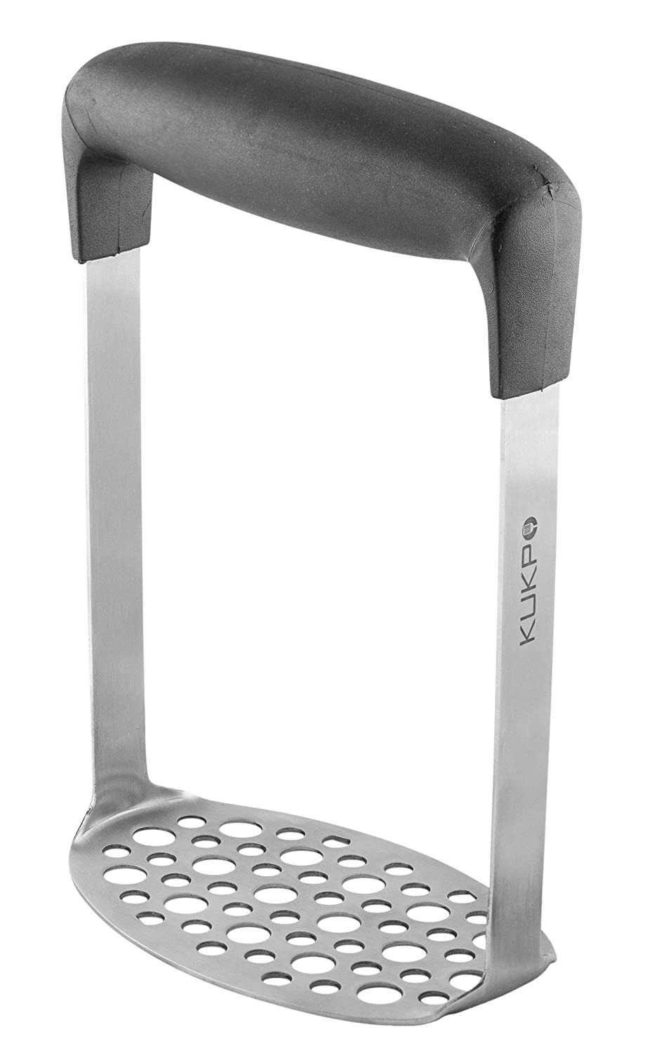 KUKPO Stainless Steel Potato Masher with Broad and Ergonomic Horizontal Handle – Fine-grid Mashing Plate for Smooth Mashed Potatoes, Vegetables and Fruits