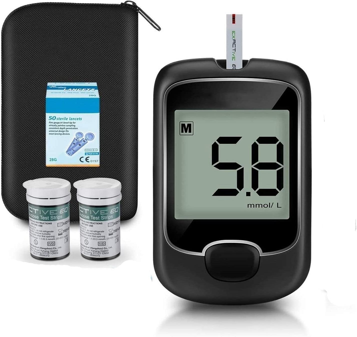 JDQS Blood Glucose Monitor Meter, Diabetes Testing Kit with 50 Test Strips and 50 Lancets for Diabetics (Color : Tester)