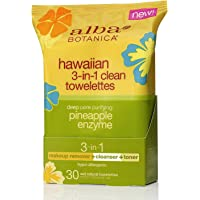 ALBA BOTANICA Hawaiian Pore Refinement 3-in-1 Clean Towelettes, 30ct