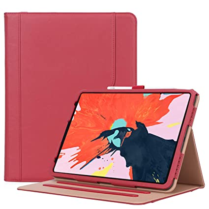 1a5249f3563b ProCase iPad Pro 11 Case 2018, Vintage Stand Folio Cover Protective Case  for iPad Pro 11 Inch 2018 Release, Support Apple Pencil Charging –Red