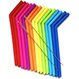 15 FITS ALL TUMBLERS STRAWS - Reusable Silicone Straws for 30 and 20 oz Yeti - Flexible Easy to Clean + 2 Cleaning Brushes -