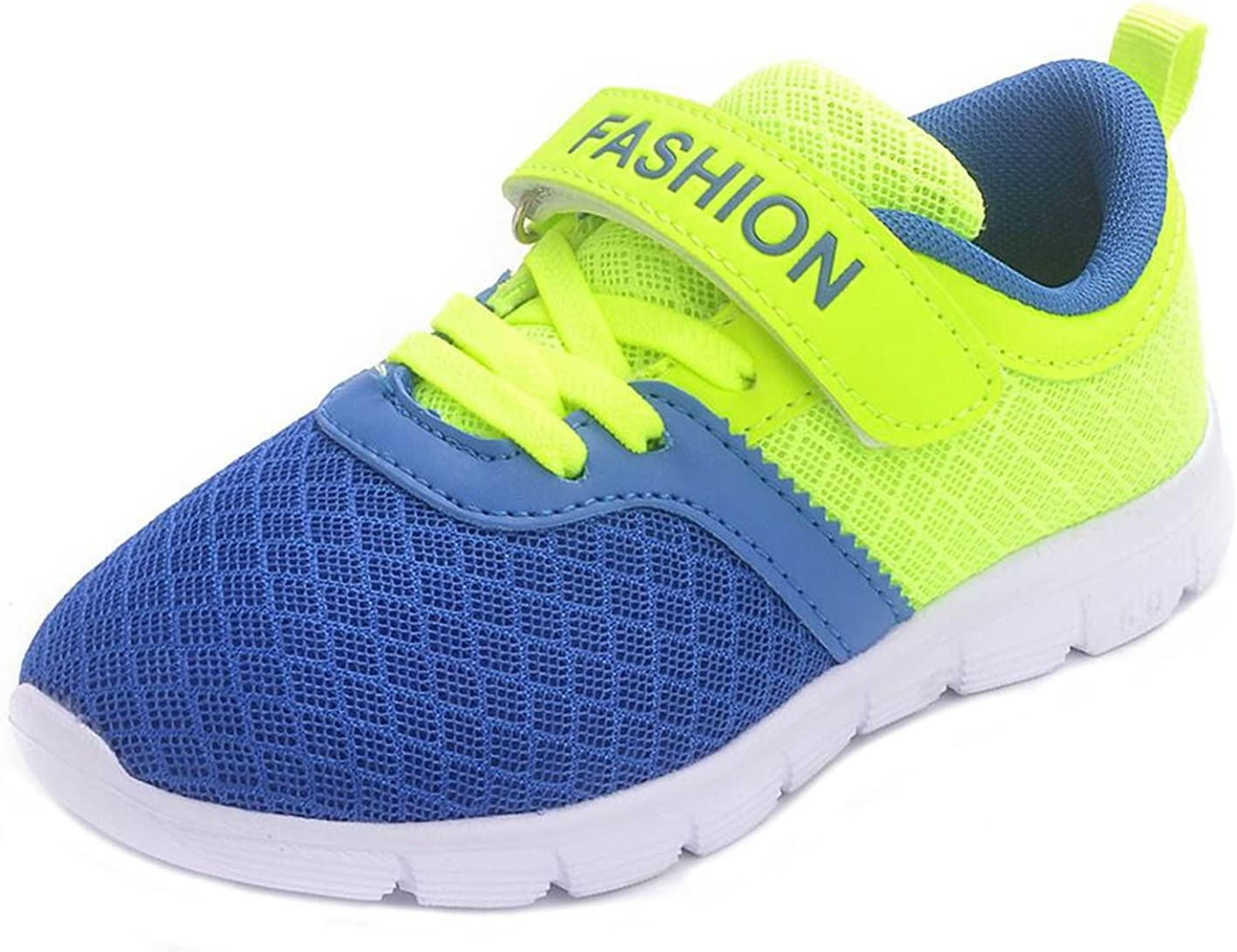 PPXID Boys Girls Mesh Breathable Hook and Loop Casual Sneaker Running Shoes-Blue 11.5 US Size