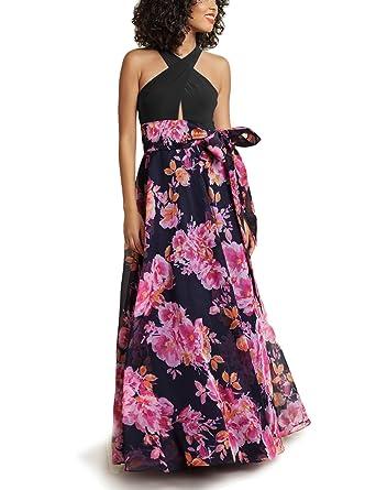 945c9be36ba Blooming Jelly Women Full Length Dress Black Flower Printed Halter Neck  Cross Tie Long Tee Dress Knot Backless Summer Maxi Dresses for Women  Summer  ...