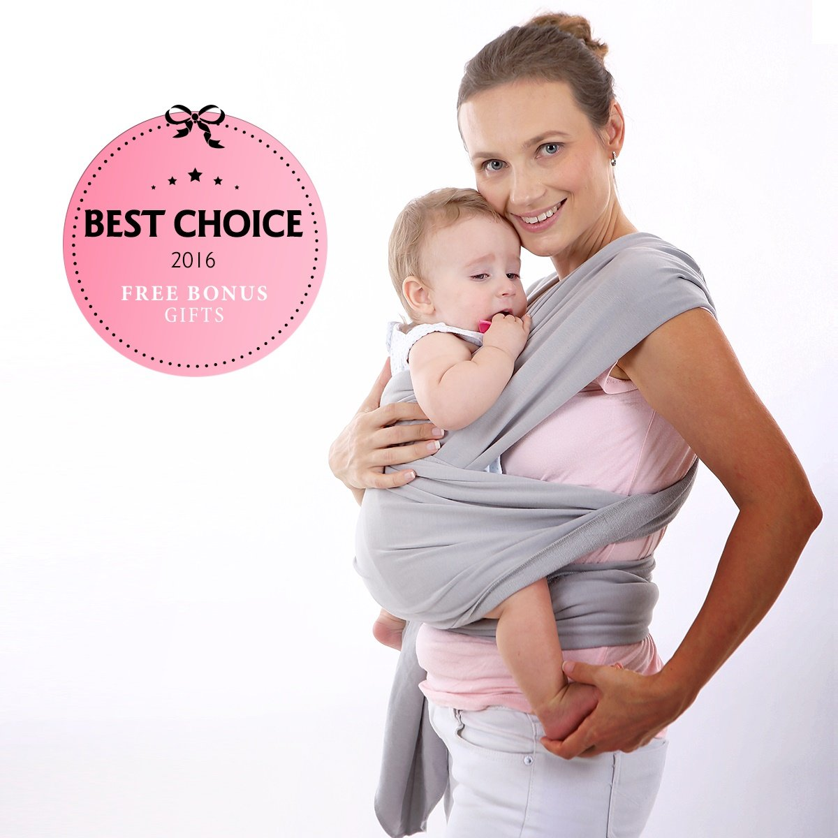 Super Soft Baby Sling Wrap Carrier -Free Adorable Baby Hat-Natural Cotton Gray
