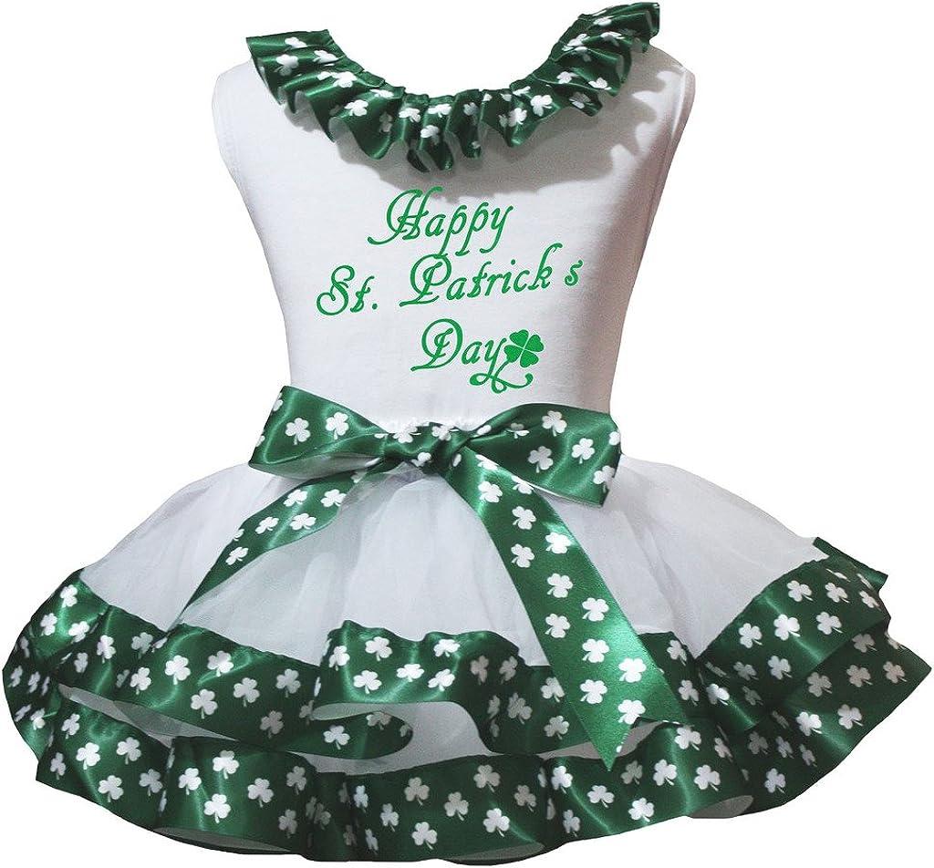 Petitebelle Happy St Patricks Day White L//s Shirt Green Petal Skirt Set Nb-8y