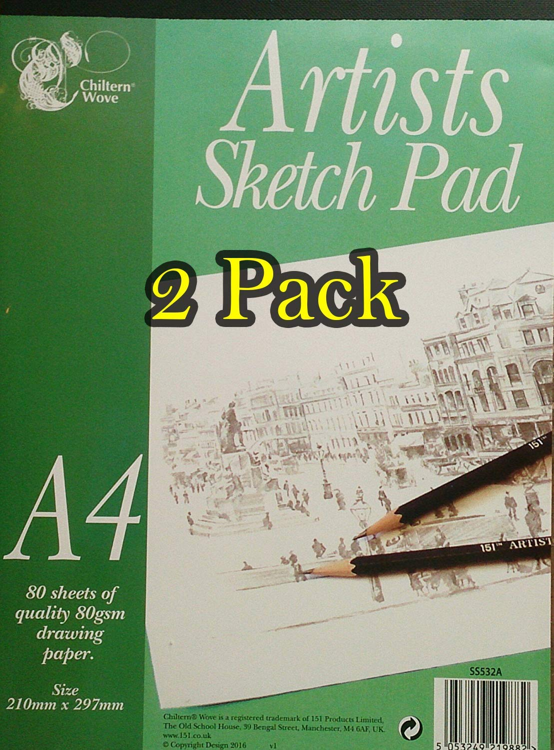 Artists Sketch Pad (Drawing Pad) A4-2 X 80 White Sheets (160 Sheets); Sketch Pad for Drawing, Painting, Kinds etc. 80gsm 151 Products