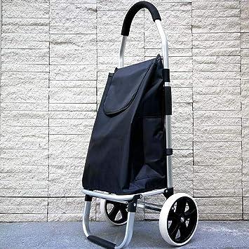 XRFHZT Hogar de Aluminio Plegable portátil Viejo Hombre Subir Carrito de Compras Carrito de Compras pequeño Carro Ligero Gran Rueda pequeña Remolque: ...