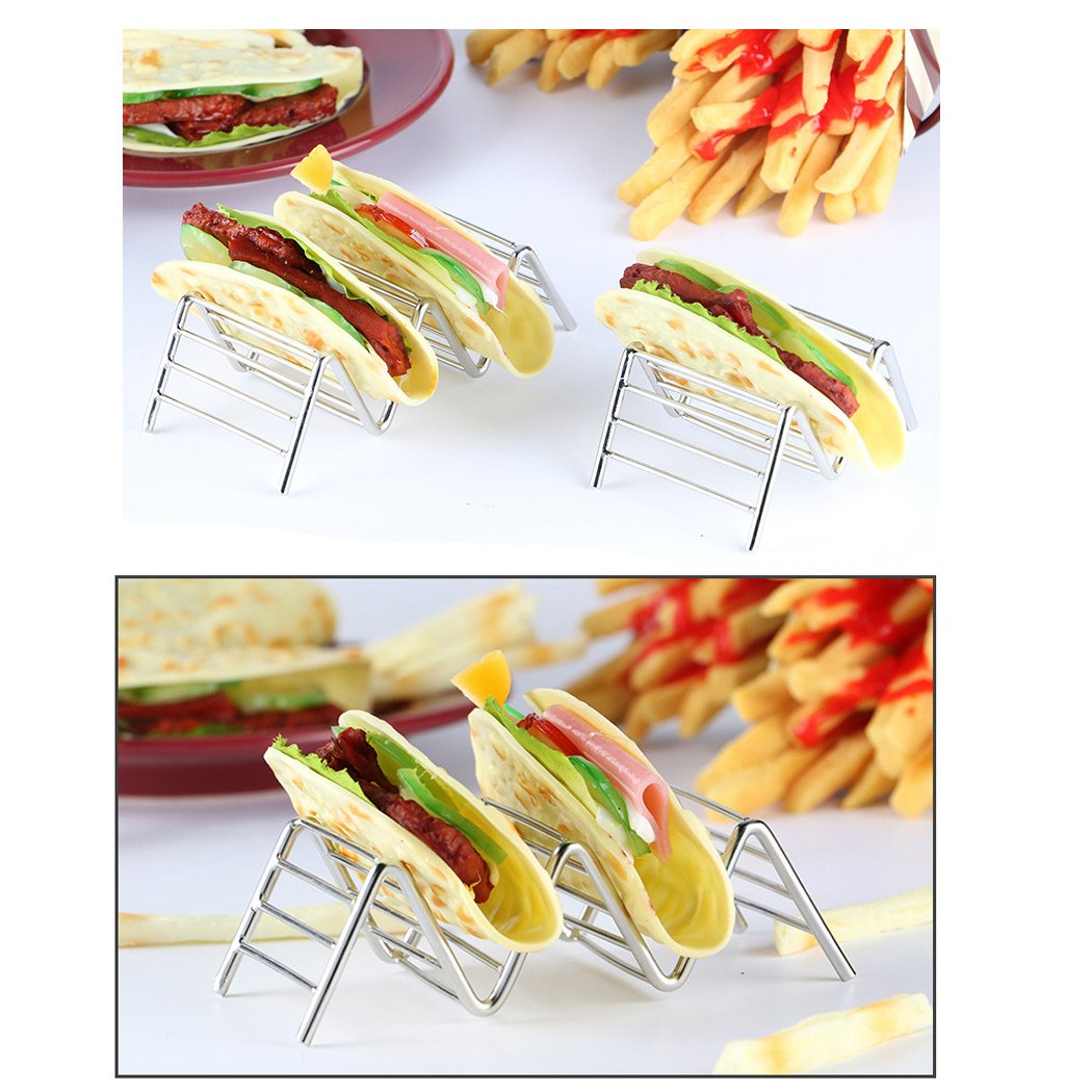 SIPLIV set of 3 Stainless Steel Taco Holders Taco Stand Burrito Stand Space for 9 to 12 Hard or Soft Shell Tacos