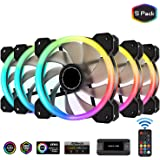 EZDIY-FAB New Dual Ring 120mm RGB LED Case Fans, 5V Motherboard Sync, Speed Adjustable, RGB Sync Fan with 10-Port Fan Hub X and Remote-5 Pack