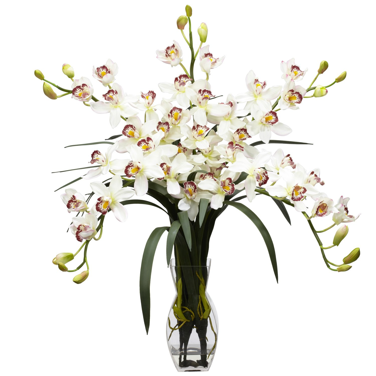 Amazon nearly natural 1184 wh cymbidium orchid silk flower amazon nearly natural 1184 wh cymbidium orchid silk flower arrangement white home kitchen reviewsmspy