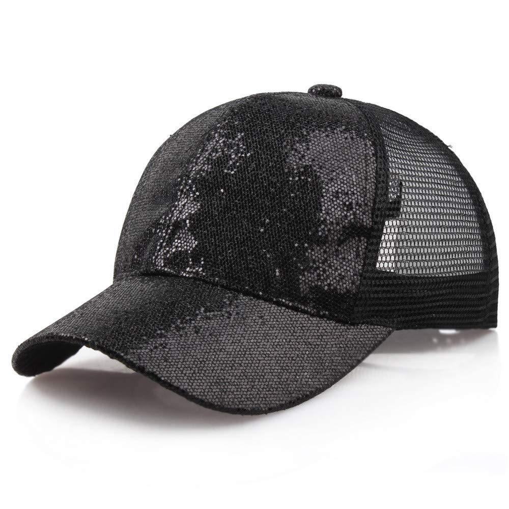 Quaanti Clearance Price!Women Girl Ponytail Baseball Cap Sequins Shiny Messy Bun Snapback Hat Sun Caps  (Black)