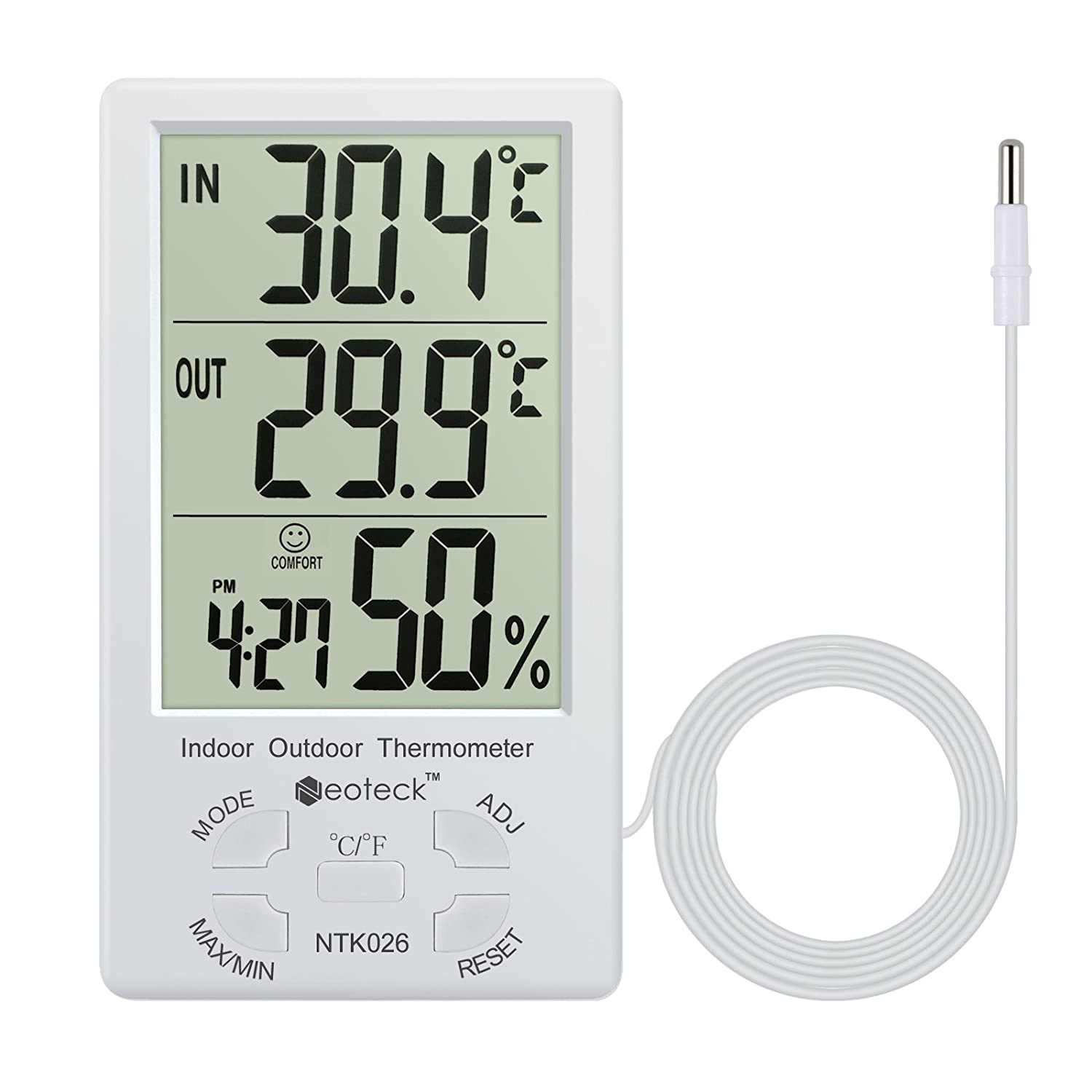 Digital Thermometer Neoteck 2 in 1 Hygrometer Temperature Meter Accuracy Temperature & Humidity with Large LCD Display 1.5m Sensor Wire Manage Air Condition for Indoor Outdoor Use NTK026