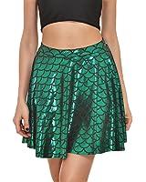 Fish Scales Skirts Women Party Cute Mermaid Mini Flared Skater skirt