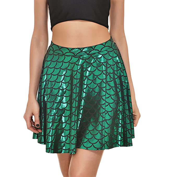d74d67584ce Fish Scales Skirts Women Party Cute Mermaid Mini Flared Skater Skirt