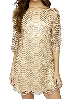 30f71ceb2d Joeoy Women s Metallic Sequins Half Sleeve Wave Gold Shift Party Dress with  Scallop Edge