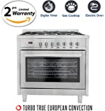 Cosmo F965 36 in. Dual Fuel Range with 3.8 cu. ft. Electric Oven with Turbo True European Convection, 5 Gas Burners, Convection Fans, Cast Iron Grates, in Stainless Steel