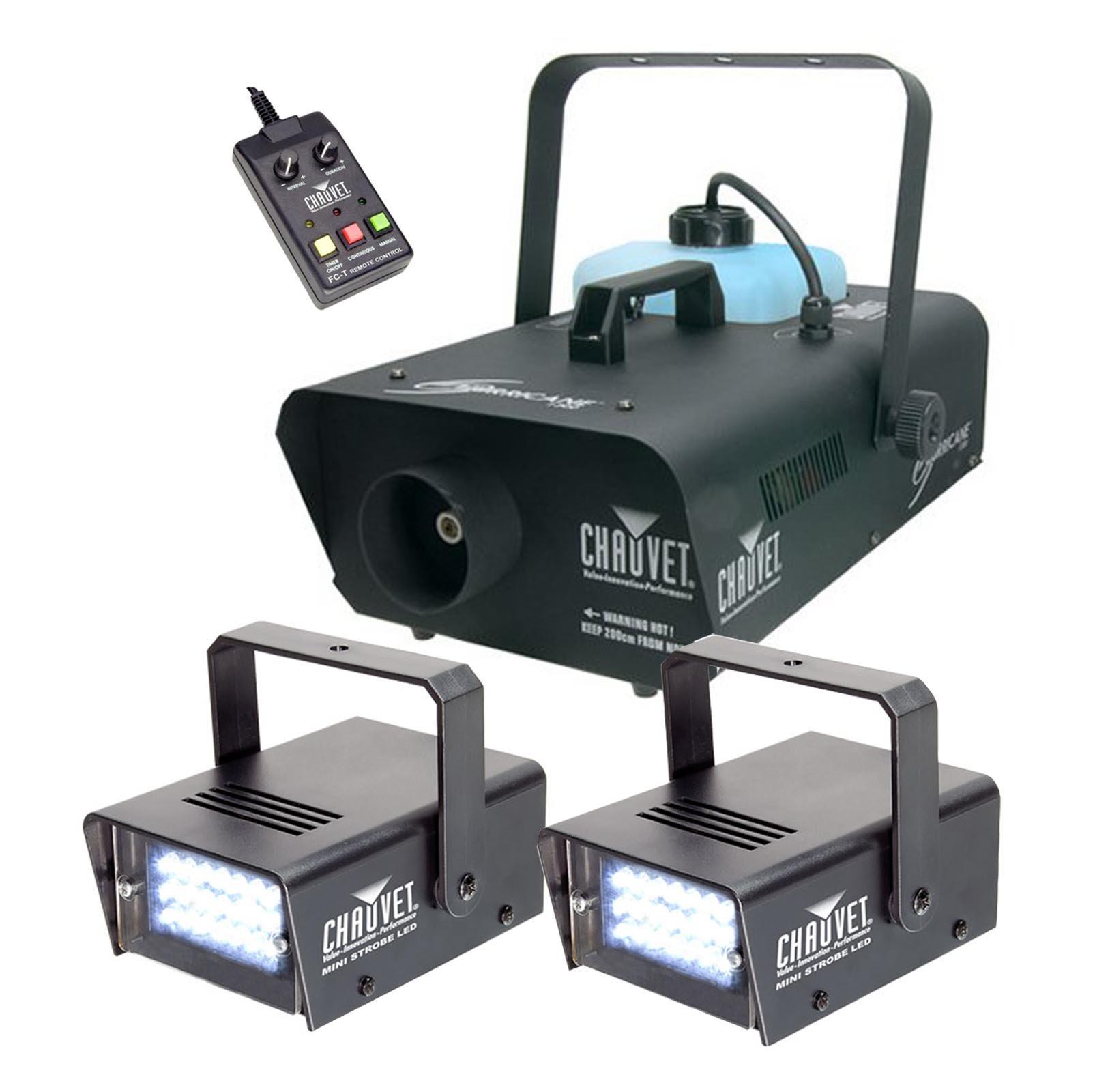 (2) CHAUVET LED Mini Strobe Lights + Hurricane H1300 Smoke Fog Machine w/ Remote