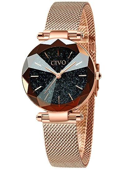CIVO Relojes para Mujer Reloj Damas de Malla Impermeable Minimalista Oro Rosa Elegante Banda de Acero Inoxidable Relojes de Pulsera Moda Vestir ...