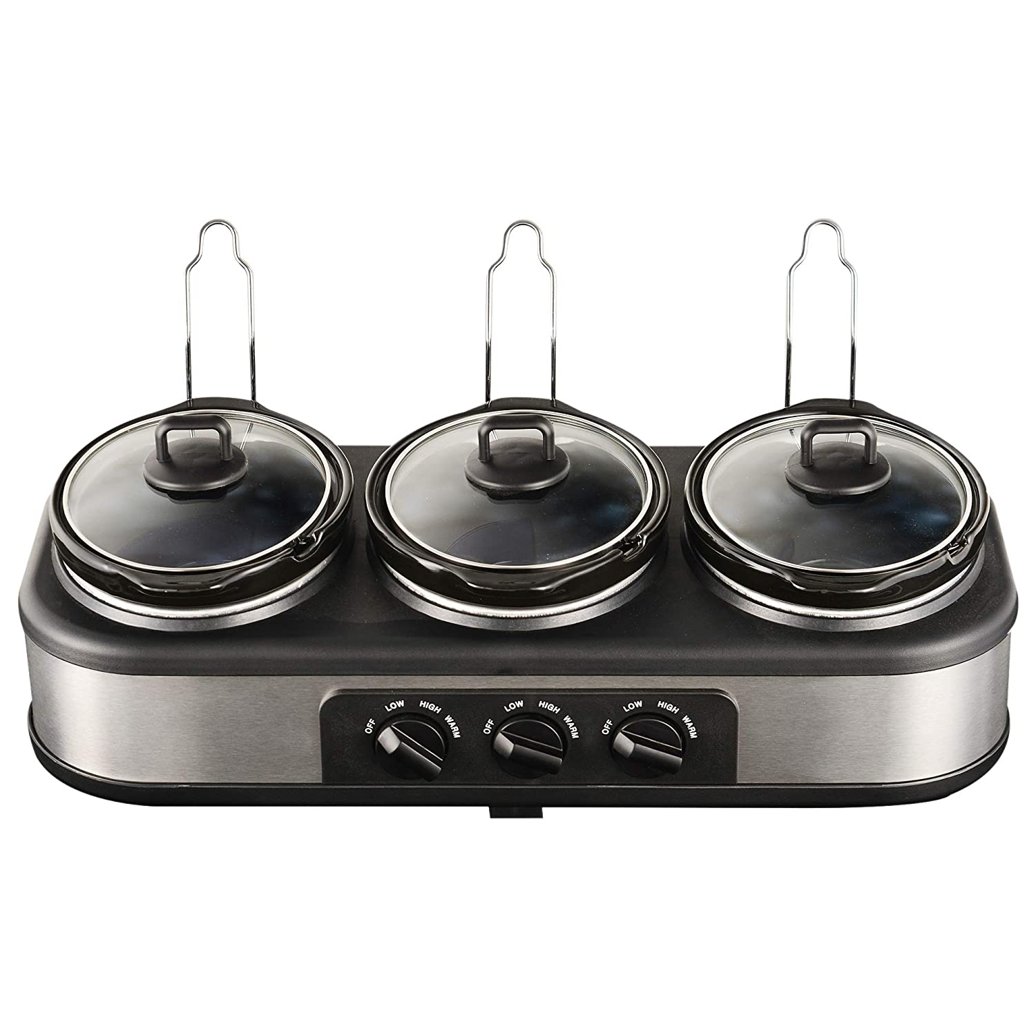 Sunvivi Triple Slow Cooker Buffet Server, 3×1.5 QT Slow Cookers Buffet Server with Non-Skid Feet, 3 Pots Food Warmer Adjustable Temp Lid Rests Stainless Steel for Parties Holidays Families