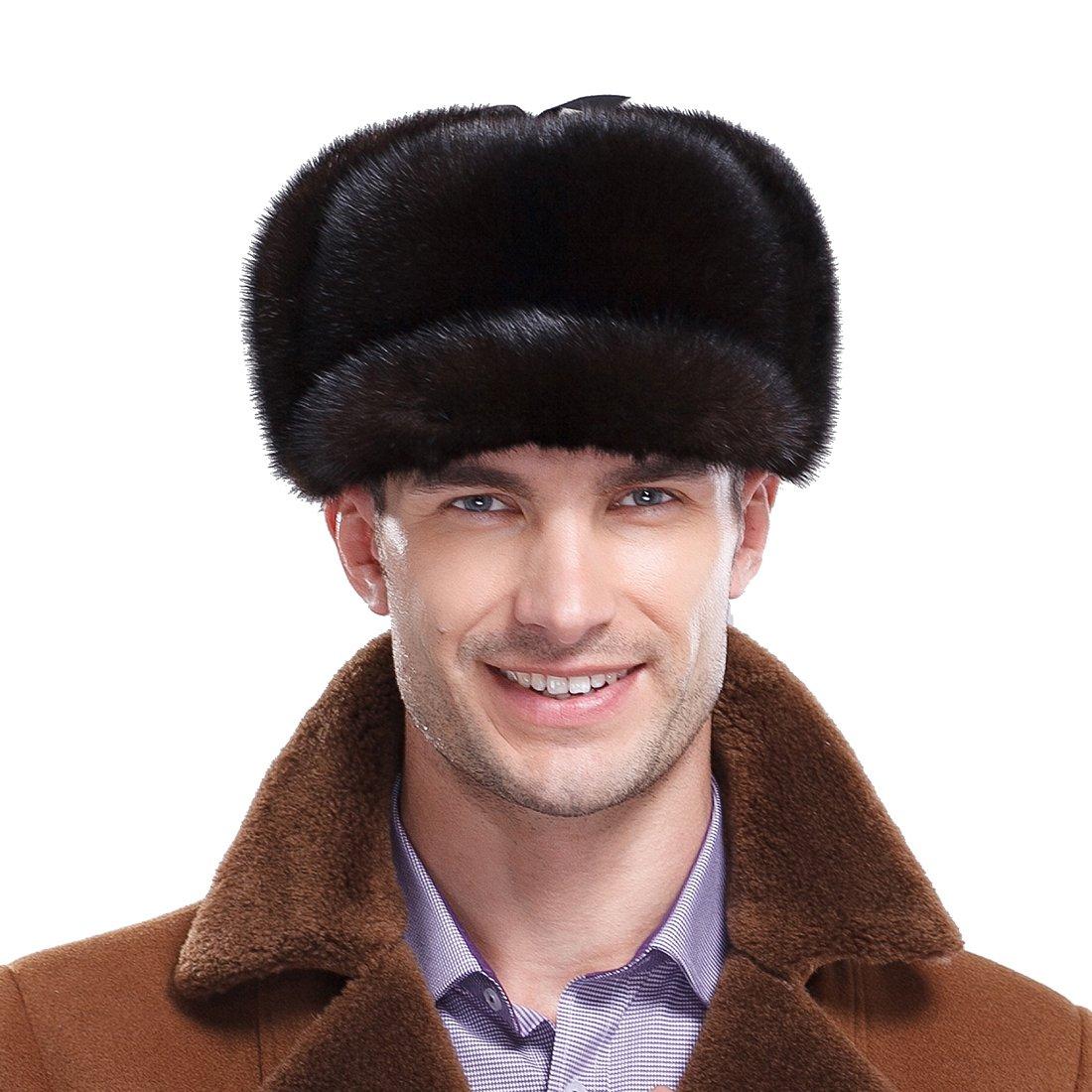URSFUR Premium Mink Full Fur Hunting Hat Captain Hat (One Size, Natural Color) by URSFUR