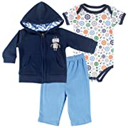 423e733f Hudson Baby Robot Hoodie, Pants & Bodysuit, Robot, 0-3 Months