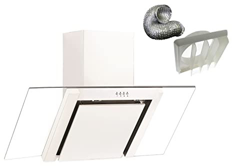 White Cookology 90cm Angled Glass Kitchen Chimney Cooker Hood /& Ducting Kit